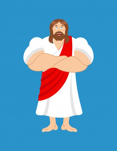 Strong Jesus. Jesus Christ is powerful. biblical character athlete and sportsman